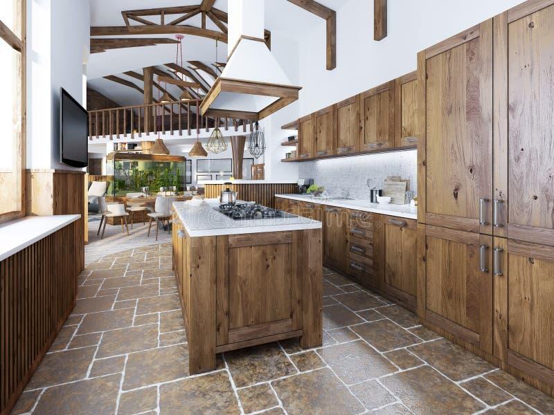 De grote keuken in de zolderstijl met een eiland in het midden stock afbeeldingen