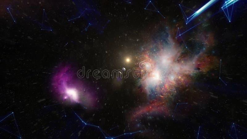 De grote klap, de geboorte van het heelal Melkwegverwezenlijking voorraad De geboorte van het heelal in ruimte, een grote klap stock foto's