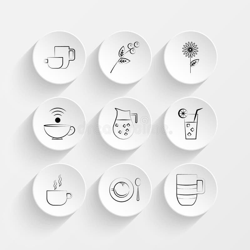 De grote de de de koppenthee, Tak, Kamille en Koffie vormen pictogrammen op de reeks van de plaatillustratie tot een kom royalty-vrije illustratie