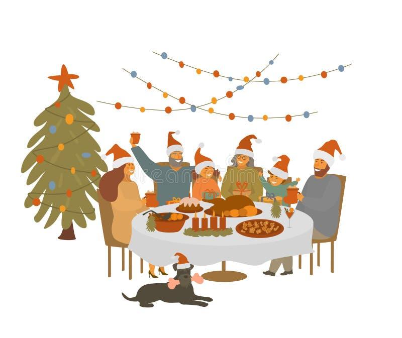 De grote leuke beeldverhaalfamilie, de oudersgrootouders en de kinderen verzamelen zich bij Kerstmislijst, vierend Kerstmisvoorav stock illustratie