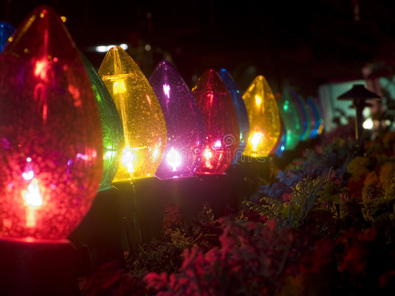 De grote Lichten en de Installaties van Kerstmis royalty-vrije stock foto