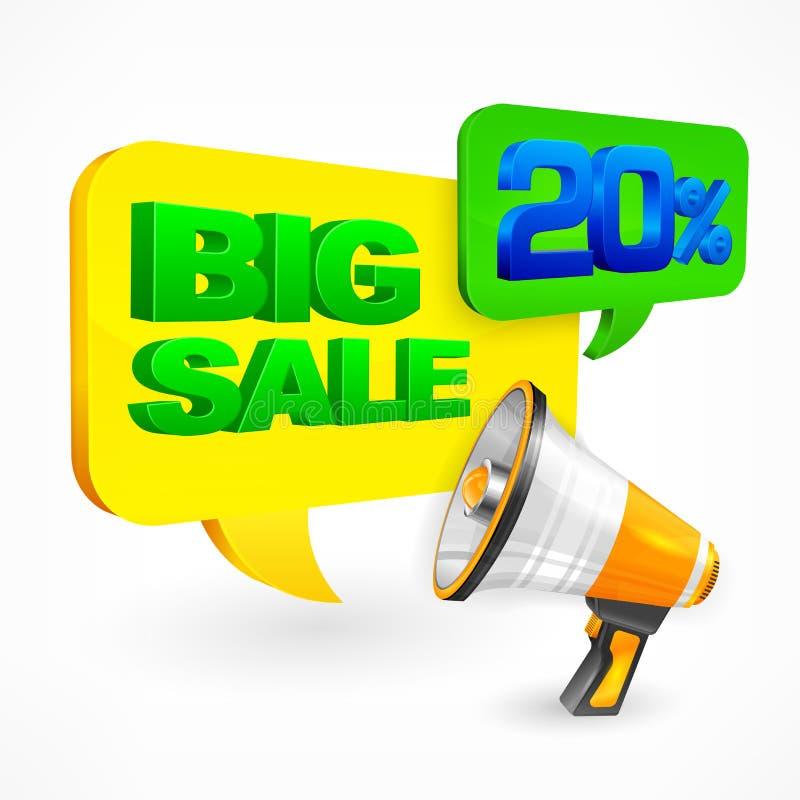 De grote megafoon van de verkoopinschrijving vector illustratie