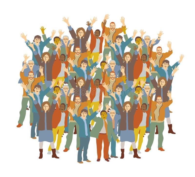 De grote menigte gelukkige mensen isoleren op wit stock illustratie