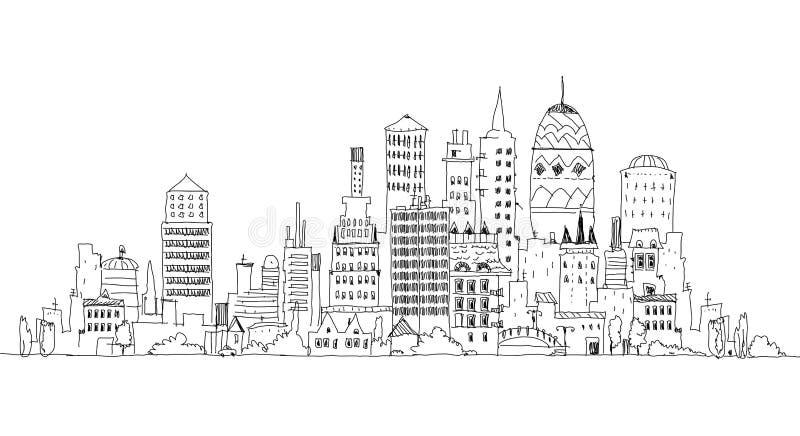 De grote Mening van de Stad Schetsinzameling stock illustratie