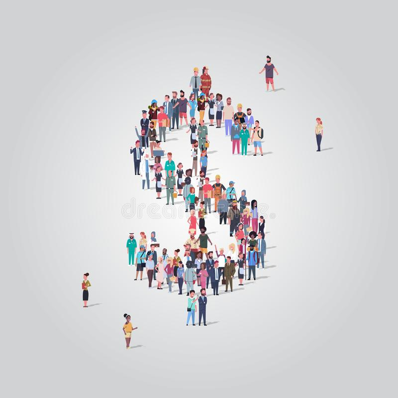 De grote mensen overbevolken zich het verenigen in vorm van dollarteken de verschillende beroepswerknemers financieel succesgeld  vector illustratie