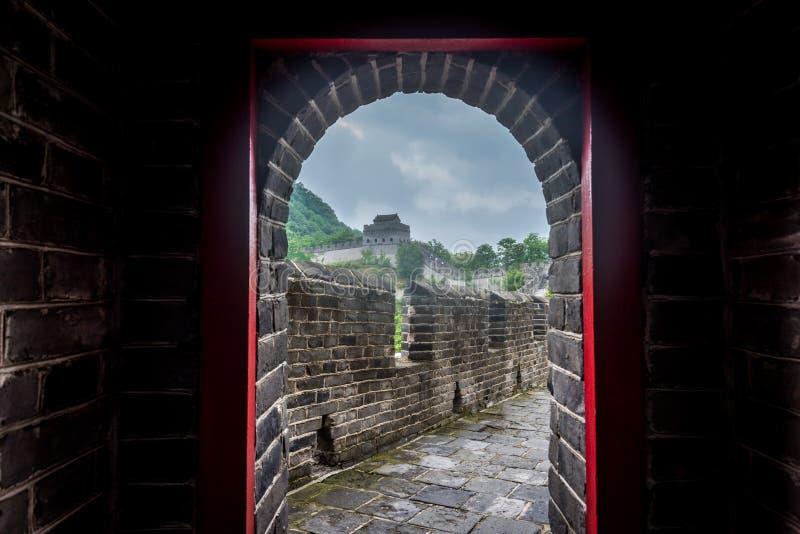 De Grote Muur van China in Dandong stock afbeelding