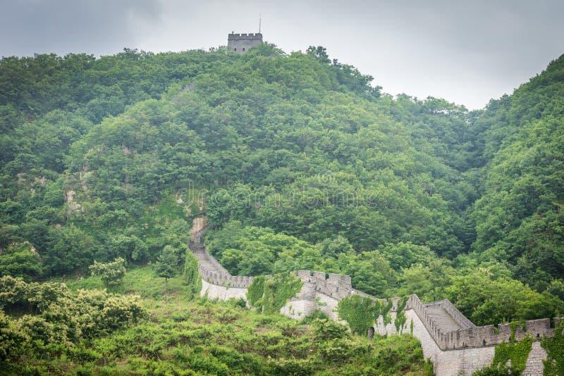 De Grote Muur van China in Dandong stock foto's
