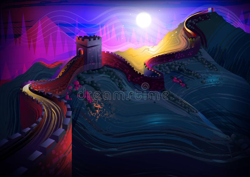 De Grote Muur van het wereldberoemde historische monument van China vector illustratie
