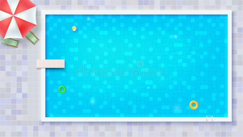 De grote openluchtpool met opblaasbaar vlak waterspeelgoed, legt mening Luchtmatras, strandbal, rubbercirkel Blauw gescheurd wate vector illustratie