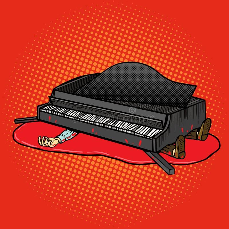 De grote piano viel op de vector van het mensenpop-art stock illustratie
