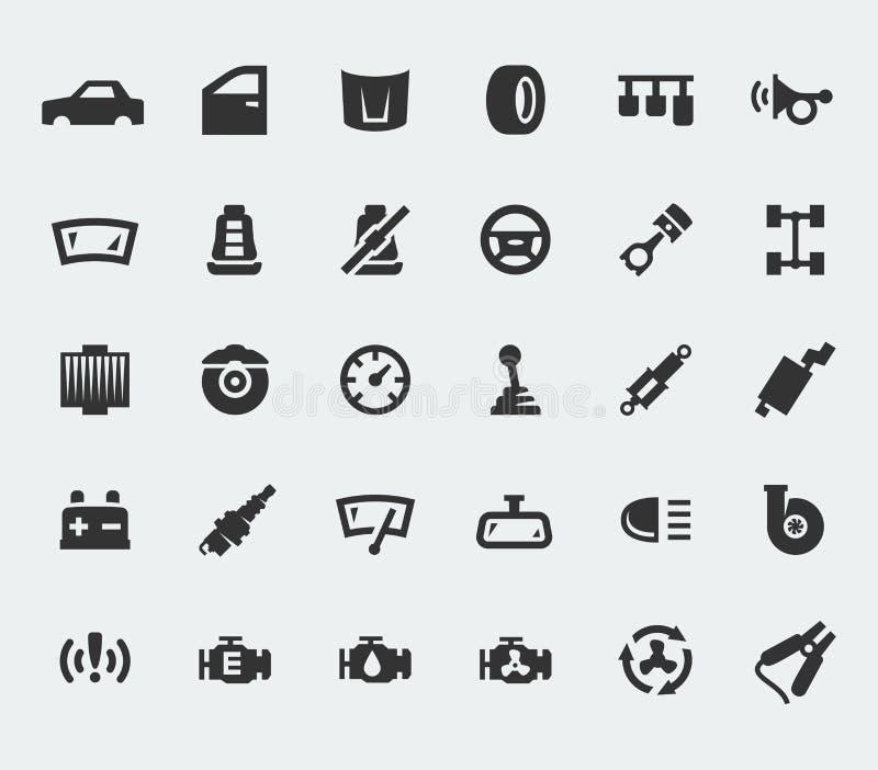 De grote pictogrammen van autodelen
