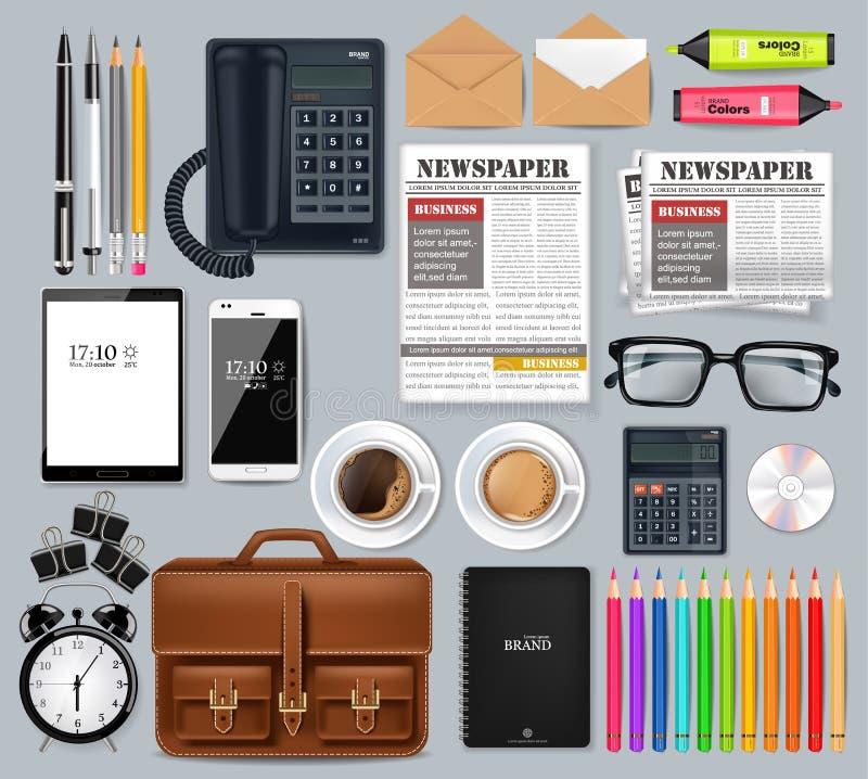 De grote realistische Vector van de bedrijfsbureau vastgestelde inzameling Glazen, zak, gadgets en gedetailleerde van de bureaule stock illustratie
