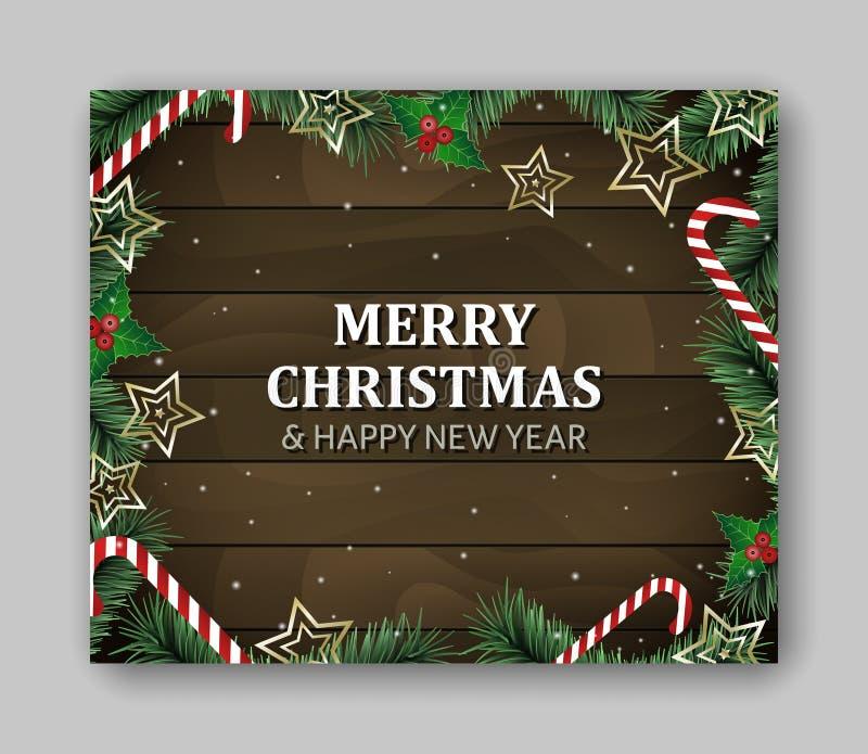De grote rechthoek van het bannermalplaatje met Vrolijke Kerstmis en het Gelukkige Nieuwjaar van letters voorzien Groene takken,  vector illustratie