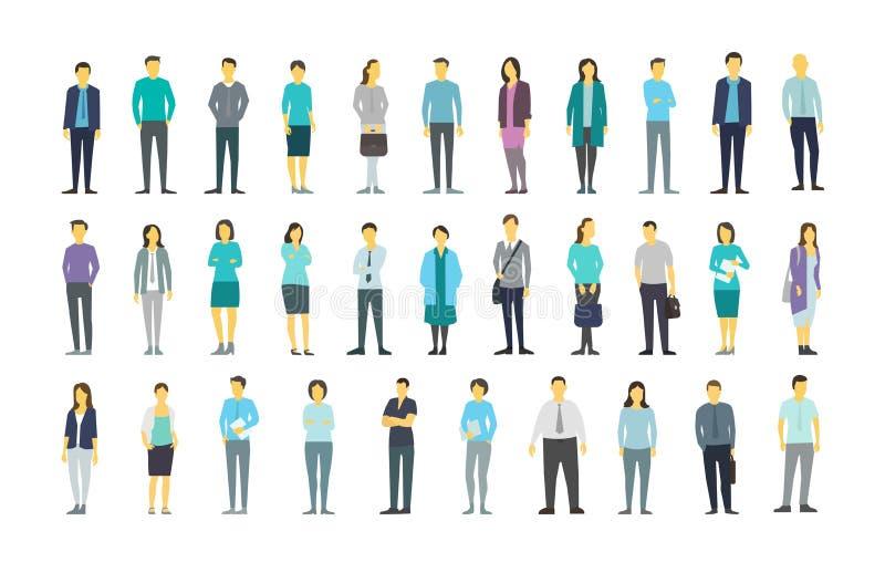 De grote reeks heel wat mensenbundel in lijn overbevolkt vele personen De VectorIllustratie van de voorraad stock illustratie
