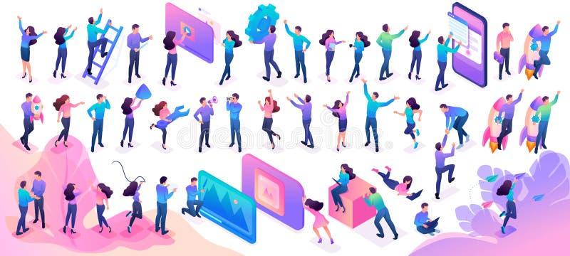 De grote Reeks Isometrische tieners in heldere kleren met verschillend stelt en gebaren Website en de mobiele uitrusting van het  vector illustratie