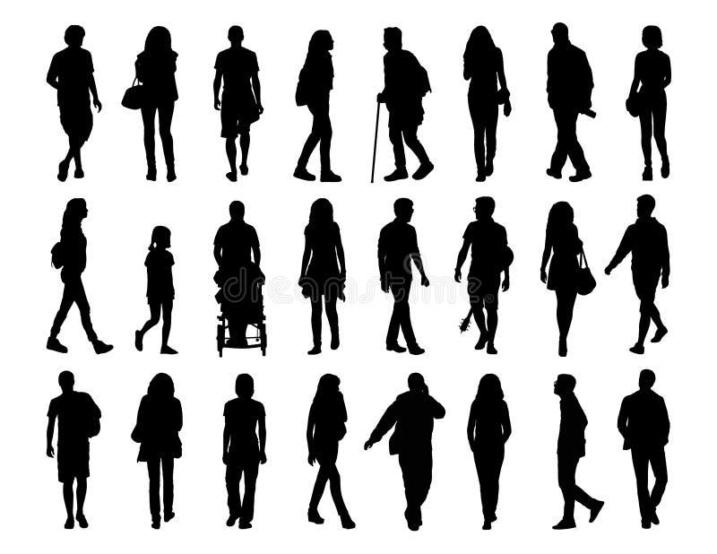 De grote reeks mensen die silhouetten lopen plaatste 1 stock illustratie