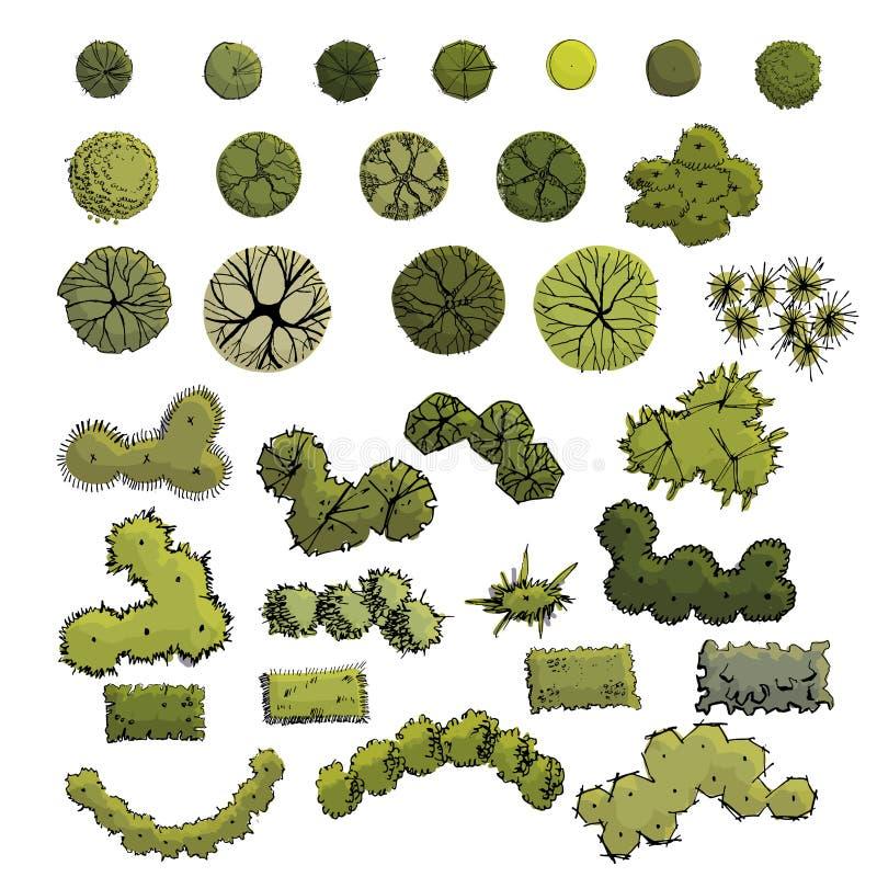 De grote reeks met symbolen van bomen en de struiken in plan bekijken whithout schaduw Hand getrokken inkt en gekleurde schets stock illustratie