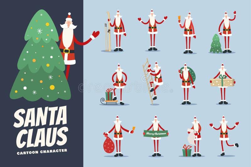 De grote reeks van grappig beeldverhaal Santa Claus in diverse dolkomisch stelt vector illustratie