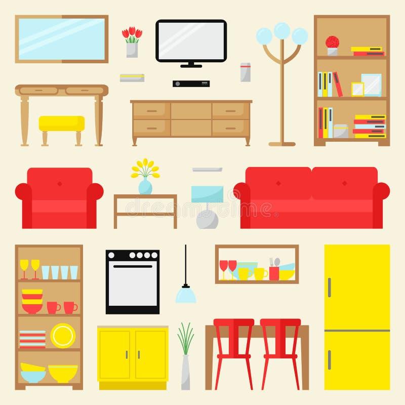 De grote reeks van het flatmeubilair Eigentijds meubilair voor woonkamer, eetkamer en keuken royalty-vrije illustratie