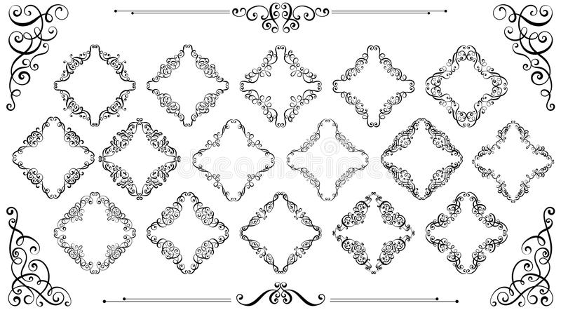De grote reeks van wijnoogst stileerde kalligrafische kaders en bloeit royalty-vrije illustratie