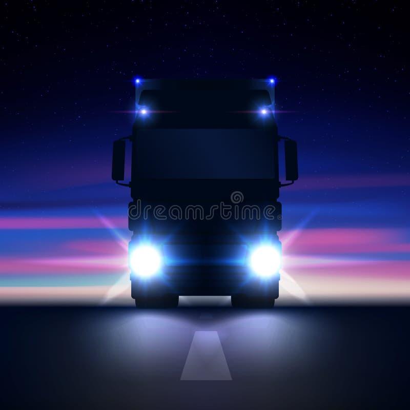 De grote semi vrachtwagen van het nachtsilhouet met heldere koplampen en het semi berijden in de nachtweg op kleurrijke sterrige  royalty-vrije illustratie