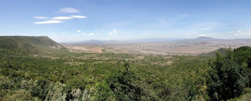 De grote spleetvallei van Kenia met Volcano Mt Longonot & MT Suswa royalty-vrije stock foto's