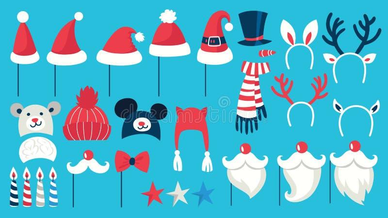 De grote steunen van de Kerstmispartij voor photoboothreeks vector illustratie