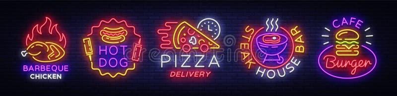 De grote tekens van het inzamelingsneon op themavoedsel Vector Vastgestelde heldere voedselemblemen, de symbolen van het Neonvoed royalty-vrije illustratie