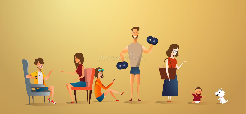 De grote traditionele illustratie van het familieconcept van familieportret Vlak ontwerp van vader en moeder met hun kinderen en stock illustratie