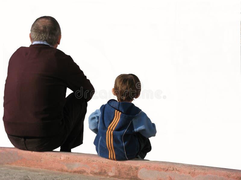 De grote vader en het kind stock afbeeldingen
