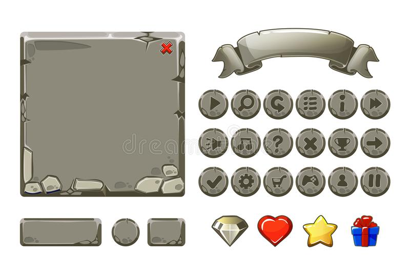 De grote vastgestelde activa van de Beeldverhaal grijze steen en knopen voor Ui-Spel, GUI-pictogrammen stock illustratie