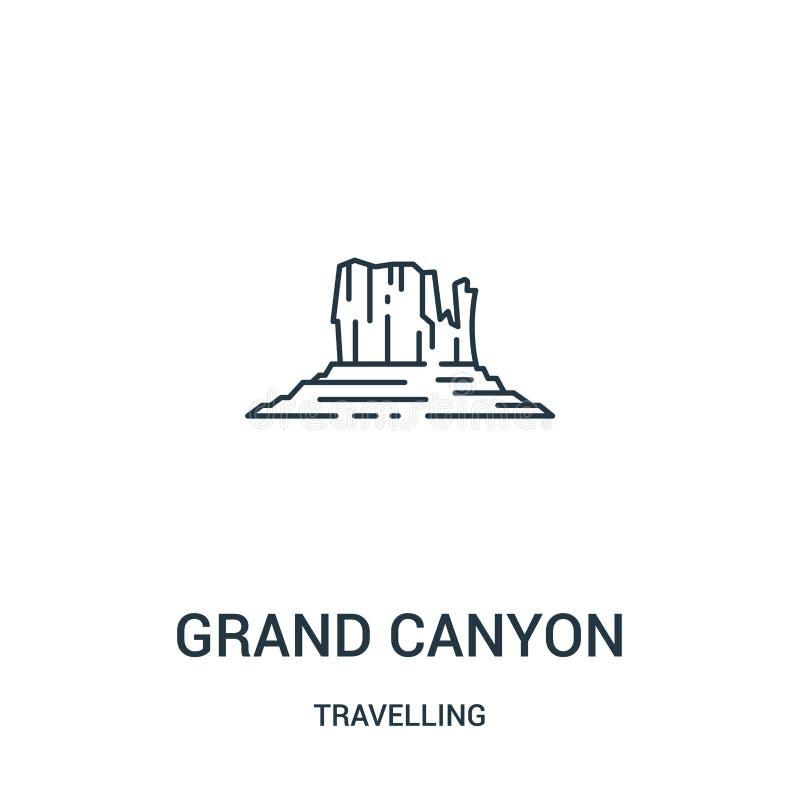 de grote vector van het canionpictogram van reizende inzameling De dunne van het het overzichtspictogram van de lijn grote canion vector illustratie