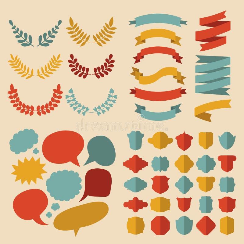 De grote vectorreeks van verschillende vormenlinten, laurels, etiketten en toespraak borrelt in vlakke stijl stock illustratie