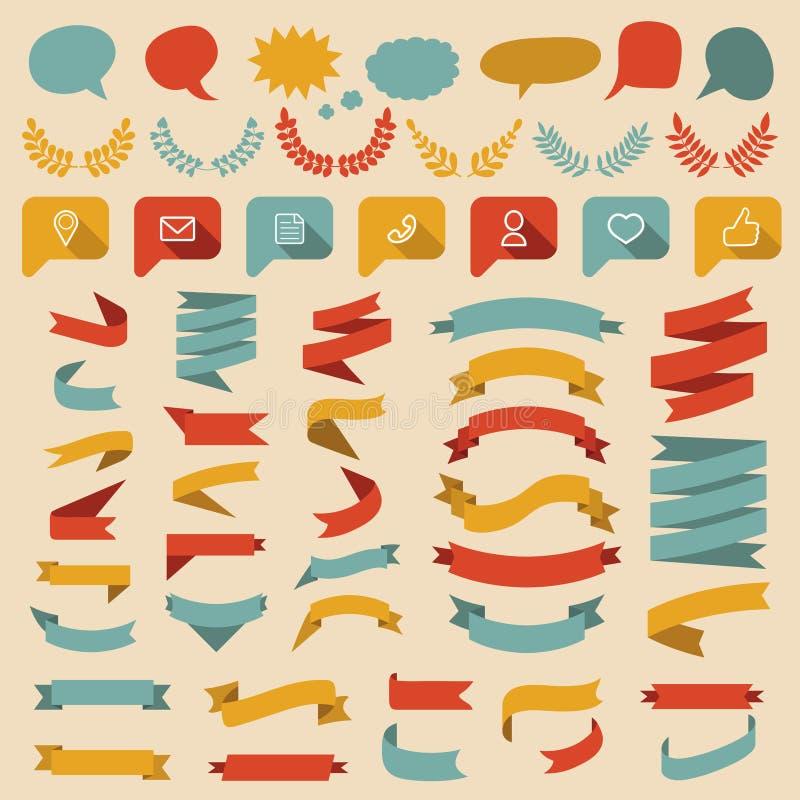 De grote vectorreeks van verschillende vormenlinten, laurels, etiketten en toespraak borrelt in vlakke stijl vector illustratie
