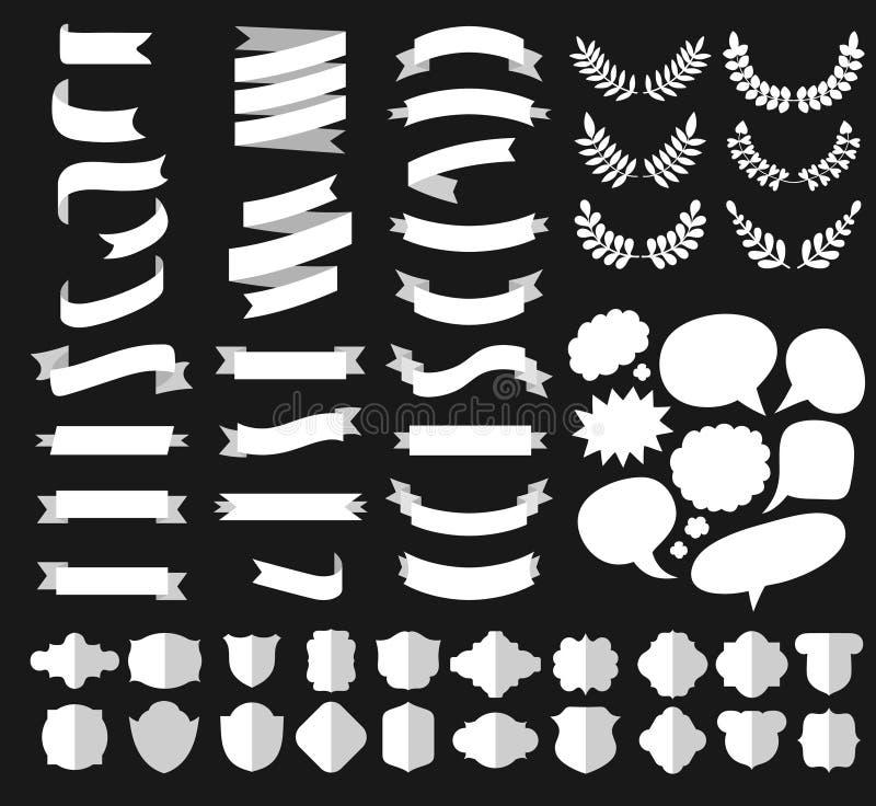 De grote vectorreeks verschillende vormen de witte linten, laurels, omhult, etiketteert en toespraakbellen in vlakke stijl vector illustratie