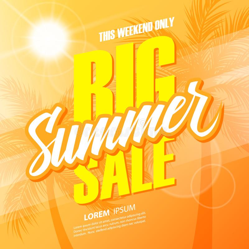 De grote verkoop van de Zomer Deze banner van de weekendspeciale aanbieding met hand het van letters voorzien en palmen voor zake vector illustratie