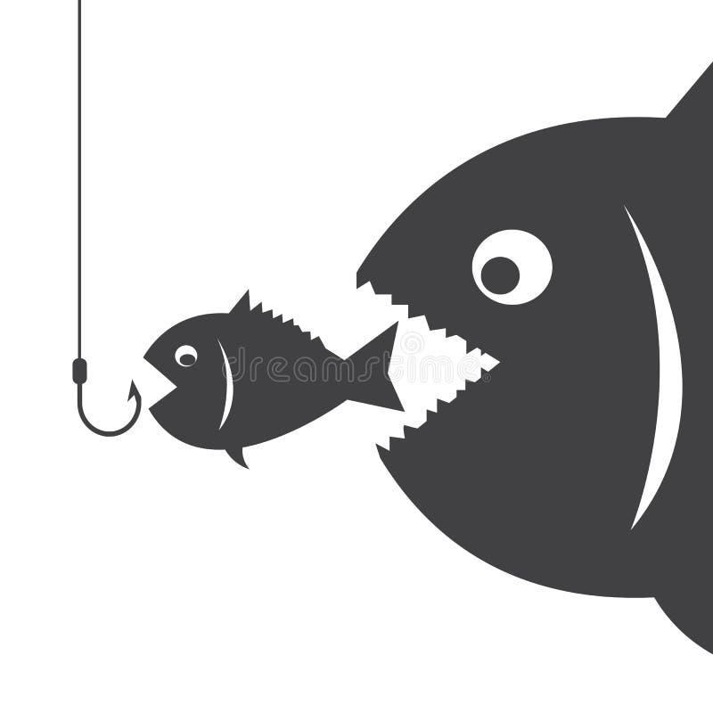 De grote vissen eten weinig vis vector illustratie