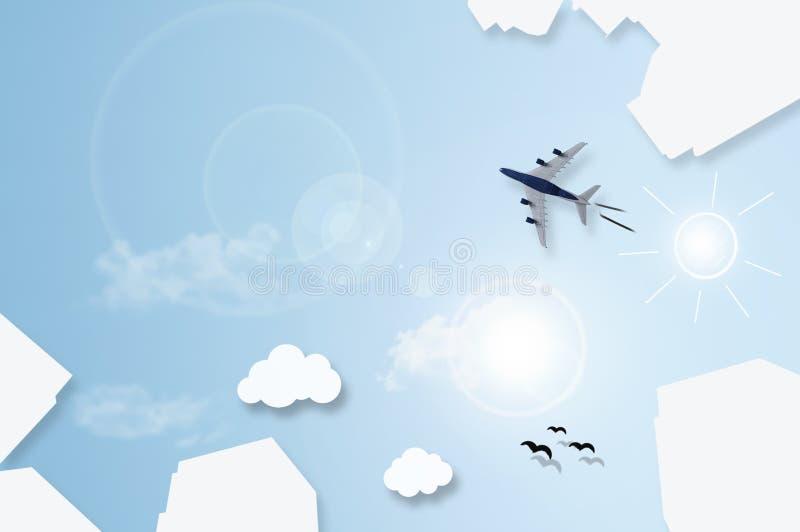 De grote vlakte van stadswolkenkrabbers legt samenvatting met vliegtuig die over sk vliegen royalty-vrije stock foto