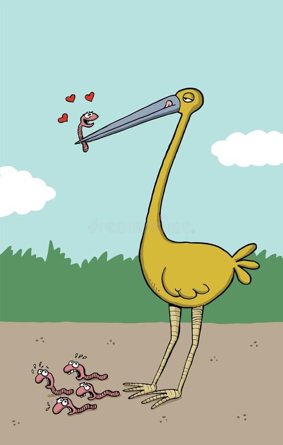 De grote vogel houdt een worm daarin bek is vector illustratie