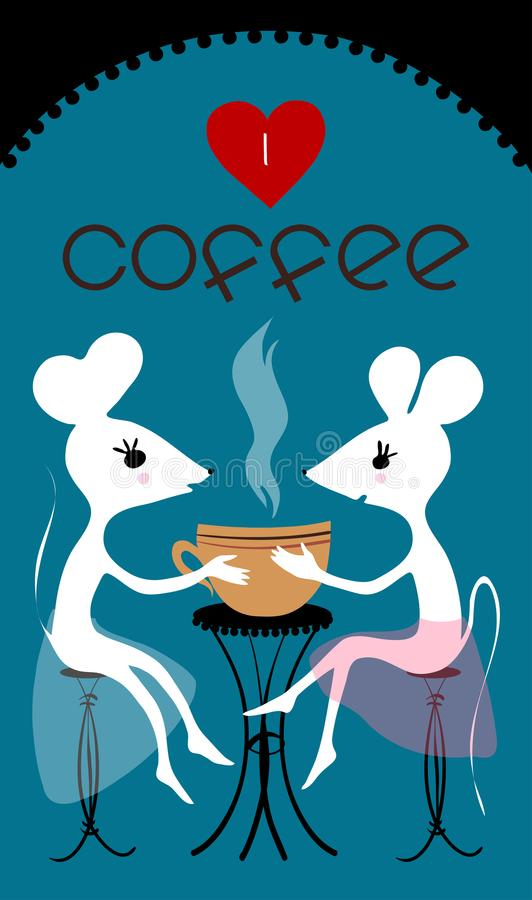 De grote vriendschap van twee vrienden, twee mouses zit in de stad en drinkt koffie Het is koffietijden Koffie baner Ik houd van  royalty-vrije illustratie