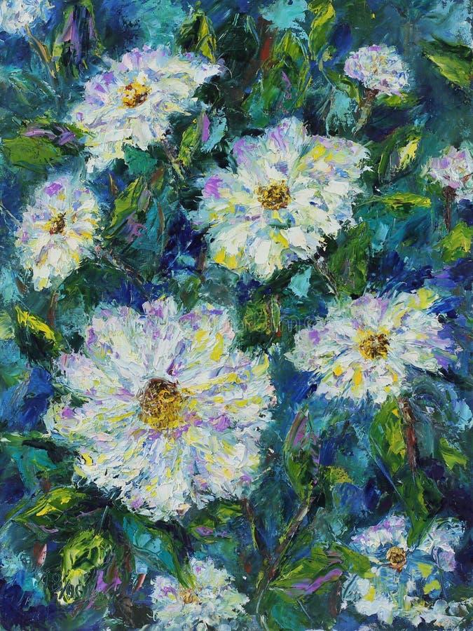 De grote witte bloemen van de gebiedszomer, olieverfschilderij stock illustratie