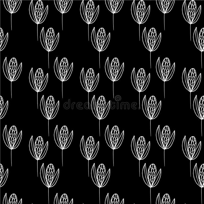 De grote witte lijnen van patroonzaden op een zwarte achtergrond stock illustratie