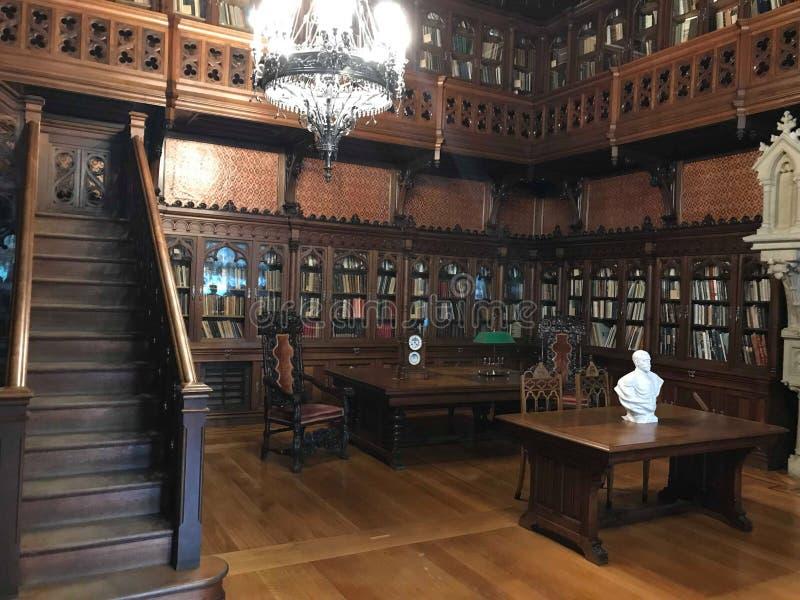 De grote zaal van de historische bibliotheek van Moskou stock fotografie