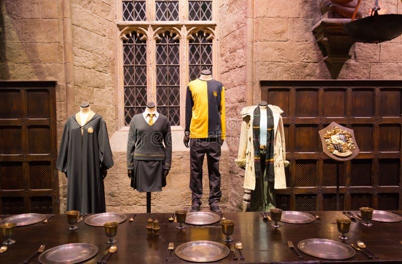 De Grote Zaal in Warner Brothers Studio reist 'het maken van Harry Potter' in Londen, het UK stock foto's