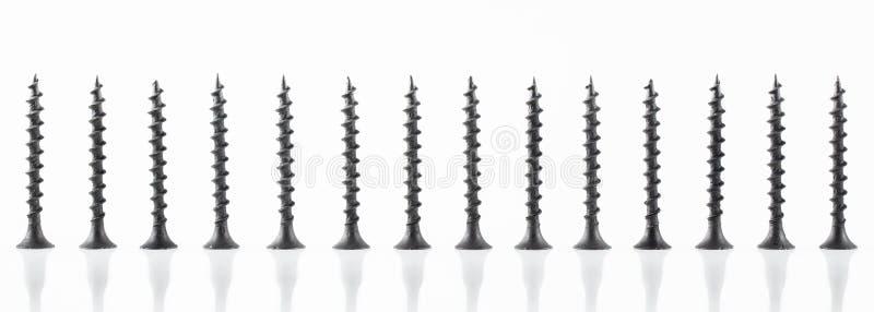 De grote zelf onttrekkende schroeven van het schroevenstilleven op witte achtergrond royalty-vrije stock afbeelding