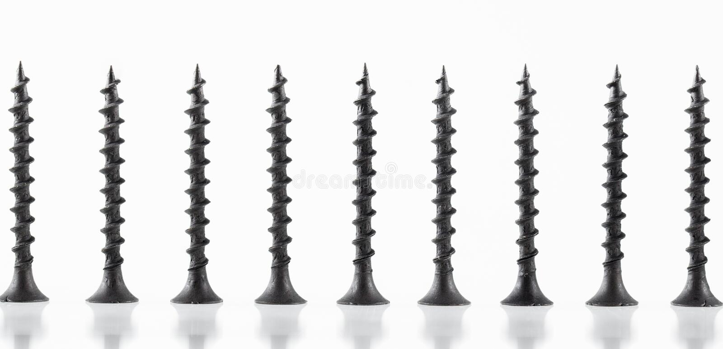 De grote zelf onttrekkende schroeven van het schroevenstilleven op witte achtergrond royalty-vrije stock foto's