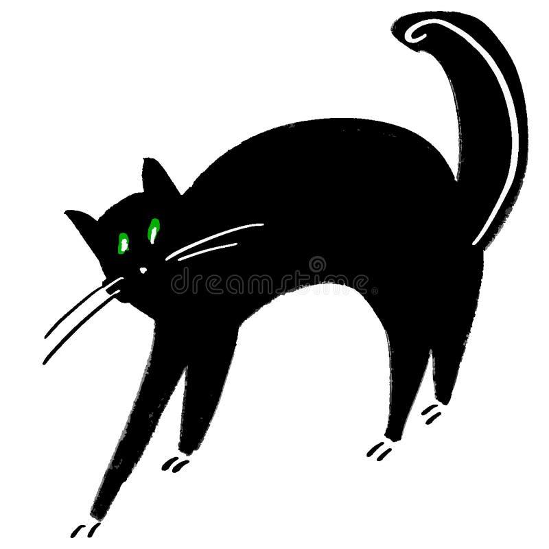 De grote zwarte kat overspant zijn rug Grote Groene Ogen Huishuisdier Grappig het themaontwerp van Halloween van het beeldverhaal vector illustratie