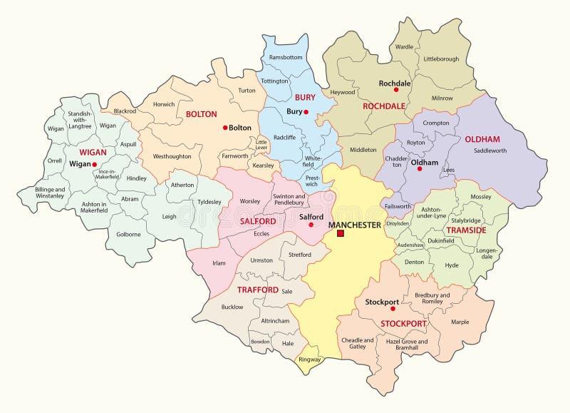 De grotere kaart van de provincie van Manchester stock illustratie