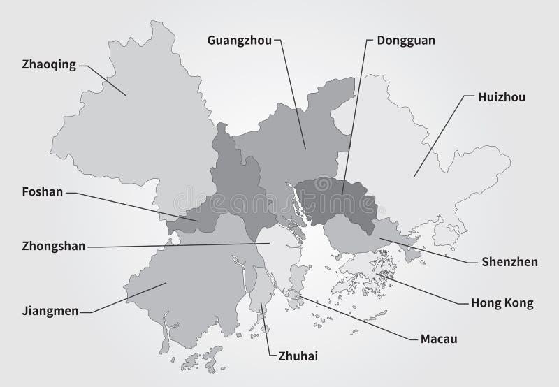 De grotere Kaart van het Baaigebied in grijs royalty-vrije illustratie