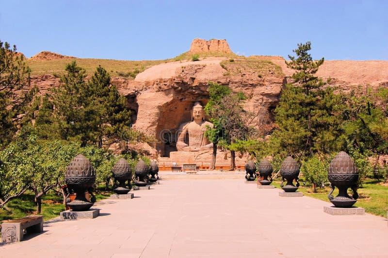 De Grotten Boeddhistische holen van Unesco Yungang, China stock afbeeldingen